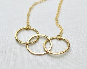 Gold Circle Necklace -  3 Linked Circles, 14KT Gold Fill, Interlocking Circles, Infinity, Classic, Delicate