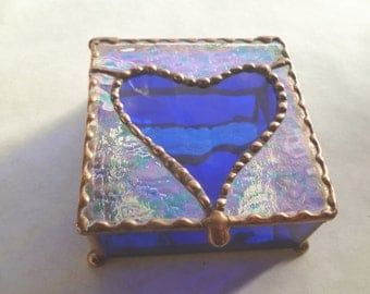 Cobalt Blue Heart - Stained Glass Jewelry Box with Iridescent Glass