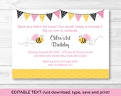 Pink Bumble Bee Birthday ...