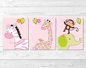 Cute Pink Jungle Animal N...