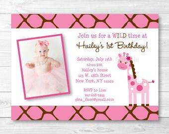 Pink Giraffe Birthday Invitation PRINTABLE