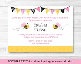 Pink Bumble Bee Birthday Invitation INSTANT DOWNLOAD Editable PDF