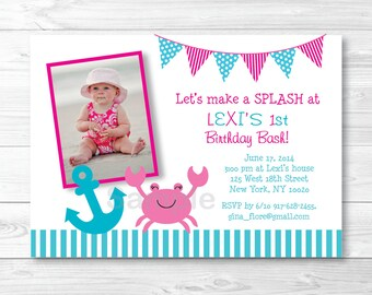 Pink Crab Nautical Birthday Invitation PRINTABLE Any Age