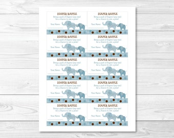 Cute Elephant Diaper Raffle Tickets / Elephant Baby Shower / Baby Shower Raffle / Polka Dot / Blue & Brown / Printable INSTANT DOWNLOAD A347