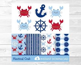 Cute Crab Clipart / Crab Digital Paper / Nautical Clipart / Nautical Digital Paper / Anchor Clipart / PERSONAL USE Instant Download