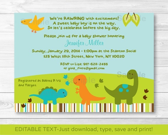 dinosaur baby shower invitation / lil dino / dinosaur baby shower, Baby shower
