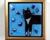 Tuxedo Cat Fused Glass Treasure Box/ OOAK Art by Susan Faye