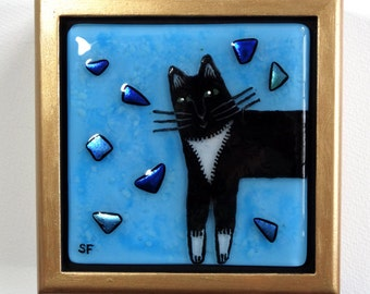 Tuxedo Cat Fused Glass Treasure Box/ OOAK Art by Susan Faye
