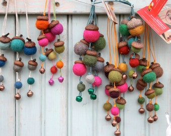 Acorn Ornaments Seen in DownEast Magazine Maine Made Gift Guide for Holiday Home Decor in Wool Primitive Harvest Decoration - Hostess Gift
