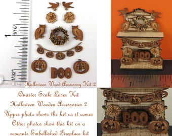 KIT Quarter Scale Halloween or Autumn Accessories 2  Laser Cut KIT, owls, wreath, garland, boo 1/4 inch, 1:48 LC008