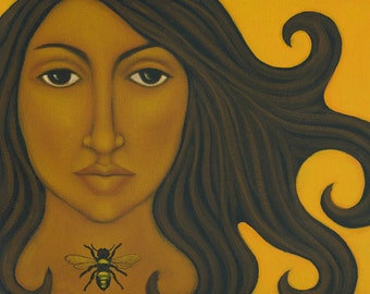 The Bee Keeper Ethnic Print of Mexican Folk Art Painting by Tamara Adams