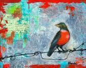 Ruby Red Robin Bird, Art Print, Bird on a Wire, Fine Art Print, Wall Decor, Summer Trends