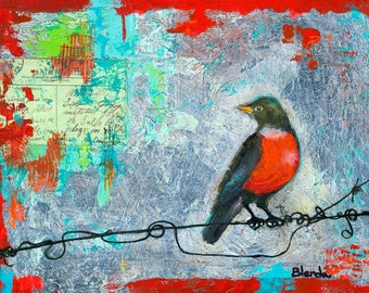 Bird Art Painting, Mixed Media, Ruby Red Robin Bird on a Wire, Fine Art Print, Wall Decor