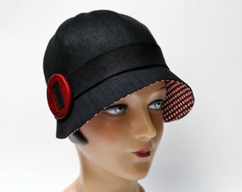Black Linen Cloche with Red and White Polka Dot Brim - Made to Order - 3 Weeks to Ship