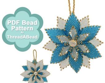 Bead Pattern: Reversible Christmas Flower Beaded Ornament