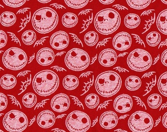 JACK SKELETON, Red Cotton Jersey Knit Fabric, By the Yard