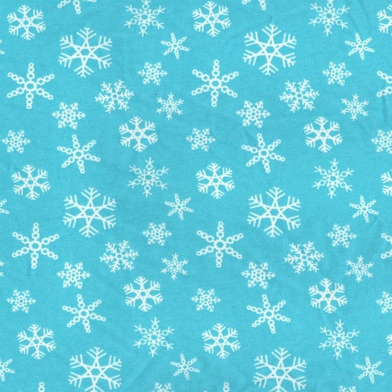 Blue Fabric With Snowflakes Snowflake Blue Cotton/lycra