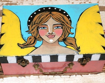 Original Hand Painted Folk Art  Angel Trinket Box