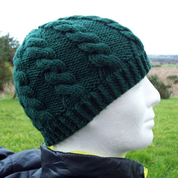 Knitting Pattern Cable Hat Easy : KNITTING PATTERN/ Cable Knit Fishermans Hat Pattern/ Easy