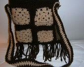 Granny Square Purse,  Brown and Beige Vintage 70's Bag, Retro, Hippie Bag,