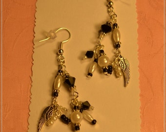 Black Crystal,Wing Charm and Pearl  Earrings