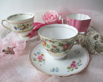 Mismatched Teacup Collection Pink Floral Teacups and Saucers Set of Three - Vintage Charm