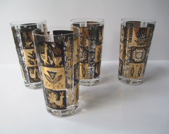 Vintage Black Gold Glass Tumblers Set of Four - So Retro