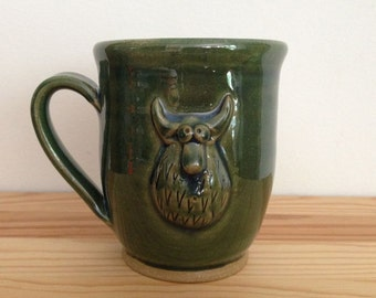 Fat Horned Droop Monster - 12 oz Mug - Shiny green cup with hand built furry monster