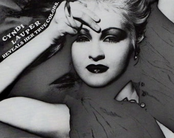 Cyndi Lauper True Colors Black and White Print Ad 1986