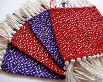 Valentine handwoven coaster set in red and purple, set of four