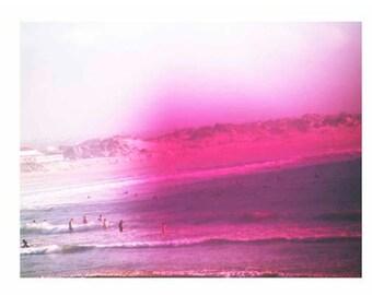 Retro Surf Art Photography Polaroid Peniche Portugal Beach Suringf Pink Vintage 8x10 Print