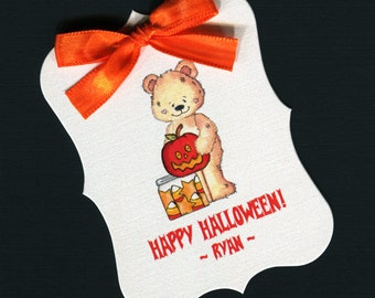 Large Personalized Halloween Favor Tags, teddy bear holding a pumpkin, set of 25