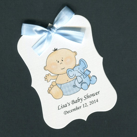 Personalized Baby Shower Favor Tags Baby Boy With Elephant