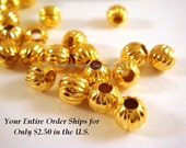 50 - 6mm Gold Ribbed Pumpkin Beads Plated Iron 2mm Hole Corrugated - 50 pc - M7011-G6mm50