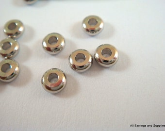 50 Spacer Bead 4x1.9mm Platinum Color Plated Brass Disk - 50 pc - 6246-7