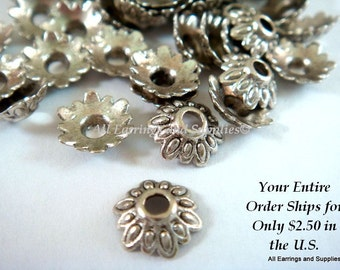 50 Antique Silver Bead Caps Flower Tibetan Style LF/NF 7mm - 50 pc - F4113BC-AS50