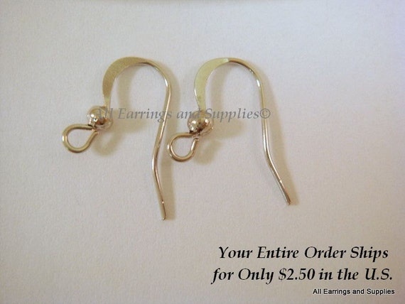 60 Platinum Flat Earwire Hooks Platinum Colored Earring  Plated -  60 pc - F4005EW-P60