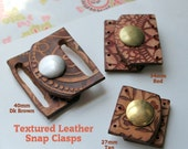 Textured Leather Snap Clasp ~ 27mm wide for Beaded Designs Qty 1
