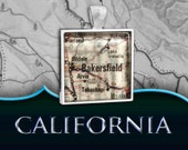 Bakersfield, CA Map Pendant