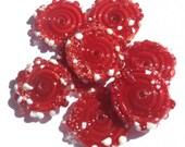 NEW  Peppermint Red Sprinkles - Disc Glass Artist Handmade Lampwork Beads