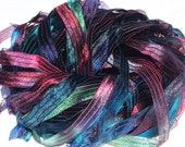 Dragon Scales - Hand Painted Artist Dyed Ribbon Strings - OOAK  - FireandFibers Beads