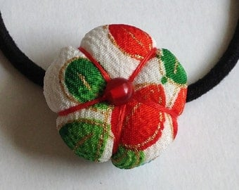 Ume (Plum Blossom) Hair Tie - Kimono Fabric, Japanese Accessory, Ponytail Holder, Women's Hair Accessory, Flower