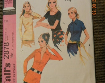 Vintage 1970's McCall's Knit Misses'  Blouse Size 14 Bust Size 36 in Four Styles