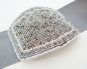 Vintage .. Antique Buckle, Silver Steel Tone Rectangle Altered art Made In France