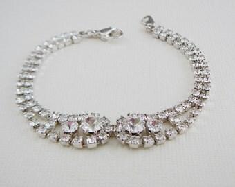Vintage Bracelet Czech Rhinestone Silvertone Clear Vintage Bride Wedding Jewelry