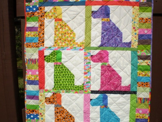 Baby Dog Quilt-Baby quilt-crib quilt-Playmat-Boy or by happyquilts