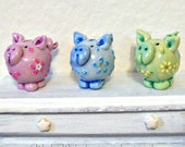 One Dollhouse Piggy Bank, Miniature Toy, Childs Room Decor, Hand Painted Bank, Toy Pig Sculpture