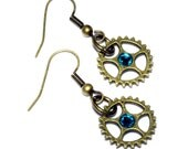 Steampunk Earrings - Bonze Gear and Aqua Swarovski Crystal