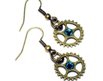 Steampunk Earrings - Bonze Gear and Aqua Swarovski Crystal