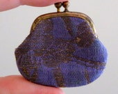 Tiny Vintage Miniature Coin Purse Silk with Leather Interior and Brass JAPAN